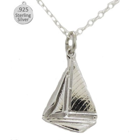 925 Sterling Silver Sail Boat Pendant And Chain