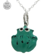 Sterling Silver Green Frog Pendant And Chain