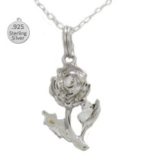 Sterling Silver Rose Pendant And Chain