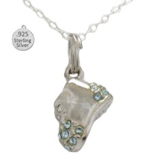 Silver Blue Baby Shoe Pendant And Chain