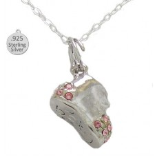 Necklacae Silver Pink Baby Shoe Wholesale Pendant And Chain