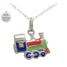 Charm 925 Wholesale Sterling Silver Hand Enameled Train & Chain
