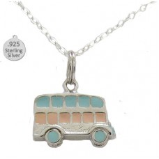 Silver Hand Enameled Bus Pendant And Chain