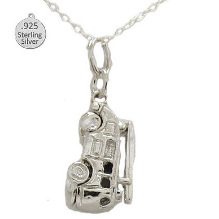 925 Sterling Silver Fire Engine Pendant And Chain