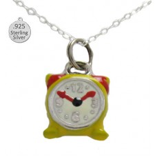 Silver Enameled Alarm Clock Wholesa Pendant And Chain