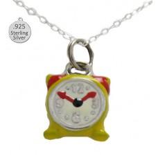 Silver Enameled Alarm Clock Wholesa Pendant & Chain