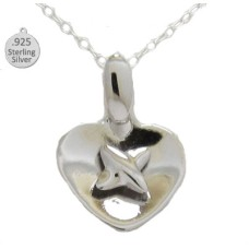 Sterling Silver Heart And Cross Wholesale Pendant And Chain