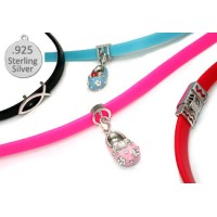 PINK Rubber 925 Sterling Silver Necklace for Charms