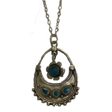 Silver Genuine Turquoise Pendant with Chain