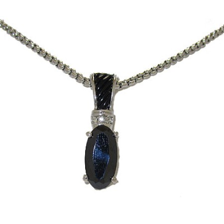 Black Crystal Pendant on 18 inches Silver Chain