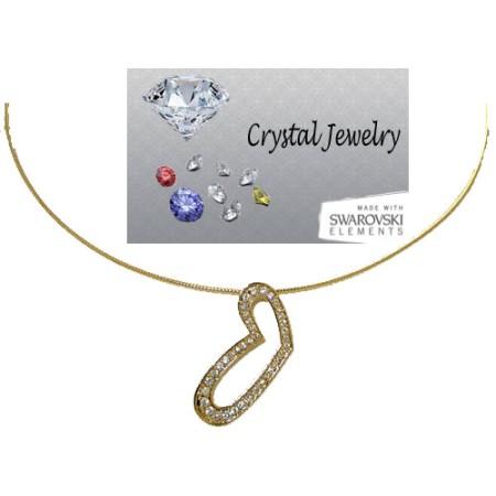 Austrian Crystal Heart Pendant Yellow Gold