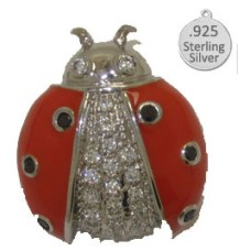 925 Sterling Silver Ladybug Pin