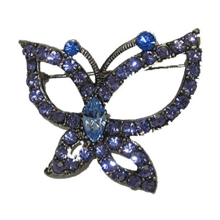 Butterfly Brooche set in Bliue Cubic Zirconia Pin