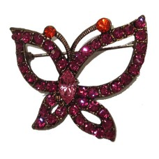 Butterfly Brooche set in Pink Cubic Zirconia Pin