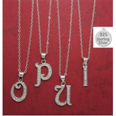 U LETTER in Sterling Charm Pendant Letter U on chain