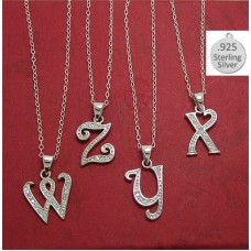 W LETTER in Sterling Charm Pendant Letter W on chain