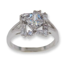 One tone silver, White CZ's classic style ring