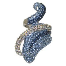 Designer Blue Sapphire Austrian Crystal Ring