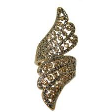Designer gold ring jet hematite And light Colorado topaz crystals