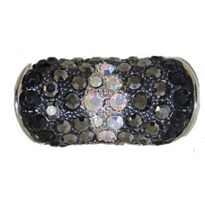 Designer silver And jet black And jet hematite And AB rING