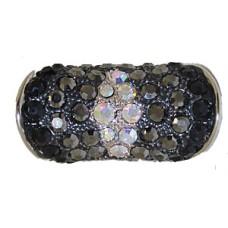 Designer silver & jet black & jet hematite & AB rING