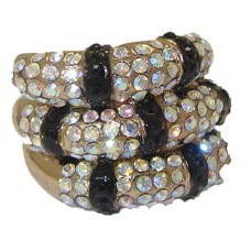 Gold Stack Ring Jet Black & AB Crystals.