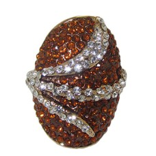 One tone gold ring smoke topaz and clear white crystals