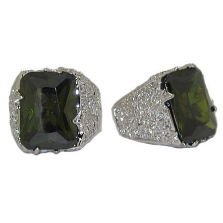 Large Designer Ring Olive Green Austrian Crystal