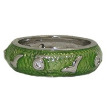 Green Hand Enamel Stack Ring Austrian Crystal
