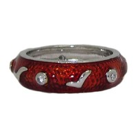 Red Hand Enamel Stack Ring Austrian Crystal
