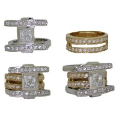 Convertible CZ Designer Ring two tone wholesale jewelry