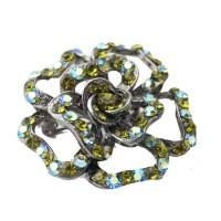 Peridot Rhinestone Vintage Style Flower Pin