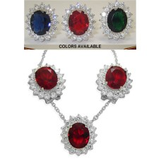 Princess Kate Wholesale 2 Pcs Set Earrings Necklace Ruby