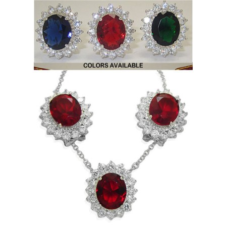 Princess Kate Wholesale 2 Pcs Set Earrings Necklace Emerald