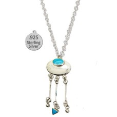 Sterling Silver And Genuine Turquoise Stone Necklace