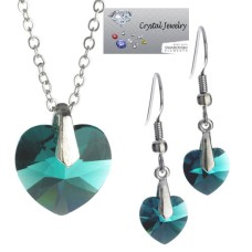 Emerald Swarovski Crystal 2 pcs Set in pouch White