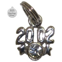 925 Sterling Silver 2002 Year Charm