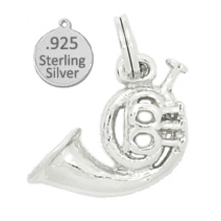 925 Sterling Silver french horn charm