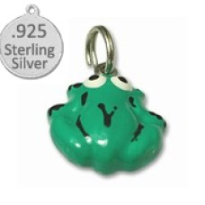 Sterling Silver green frog charm