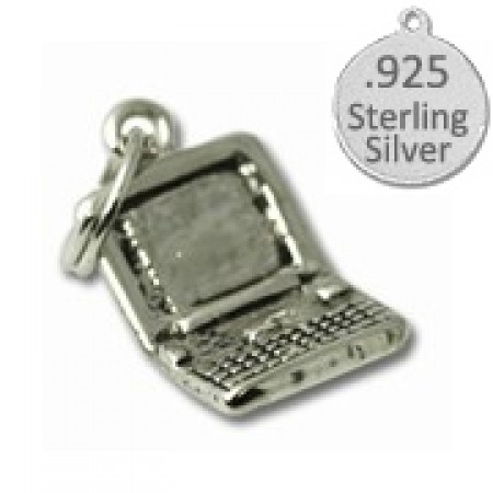 925 Sterling Silver Lap top Computer charm