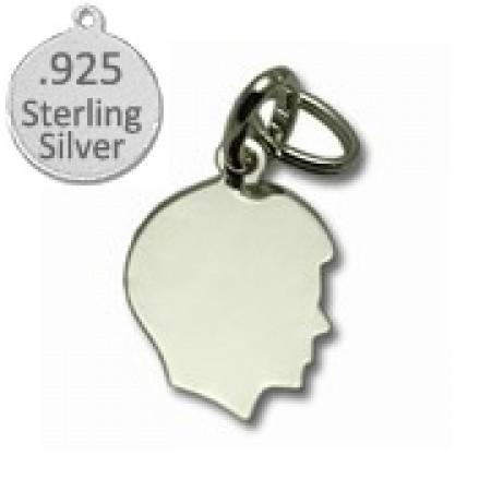925 Sterling Silver Boy Silhouette Charm