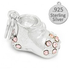 925 Sterling Silver Pink Baby Shoes Wholesale Charm