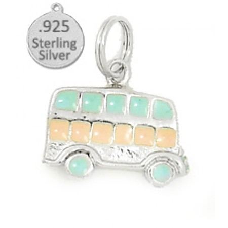 925 Sterling Silver Hand Enameled Bus Wholesale Charm