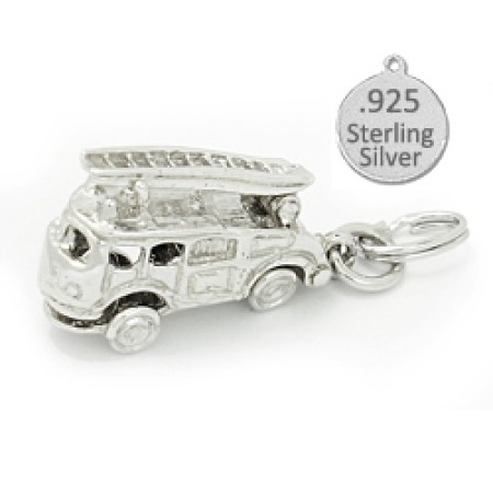 925 Sterling Silver 3 D Fire Engine Charm
