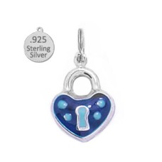 Sterling silver Two Sided Enameled Padlock Charm