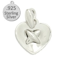 925 Sterling Silver Cross in Heart Shape Charm