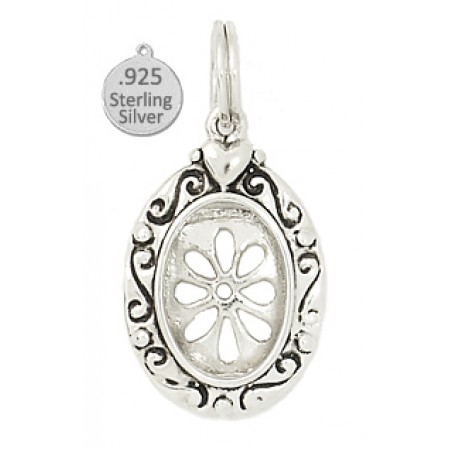 925 Sterling Silver Oval Daisy Frame Charm