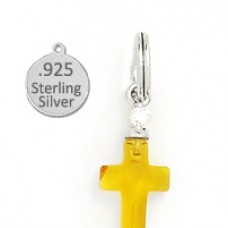 Sterling silver amber cross wholesale charm
