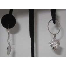 Sterling Silver Royal flush Deck charm Earring