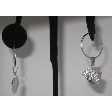 Sterling Silver Royal flush Deck charm Earring